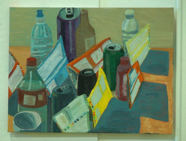"""Ezra Johnson, Bags, Cans and Bottles, 2018, Oil on Linen, 20"""" x 26"""""""