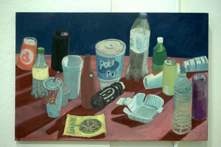 """Ezra Johnson, Cups, Cans and Bottles, 2018, Oil on canvas, 24"""" x 36"""""""