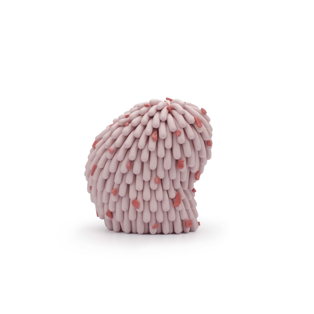 """Linda Lopez, Slouchy Pink Dust Furry with Lobster Cut Outs, 2020, Porcelain, 5 3⁄4"""" h x 5 1⁄2"""" w x 4"""" d"""