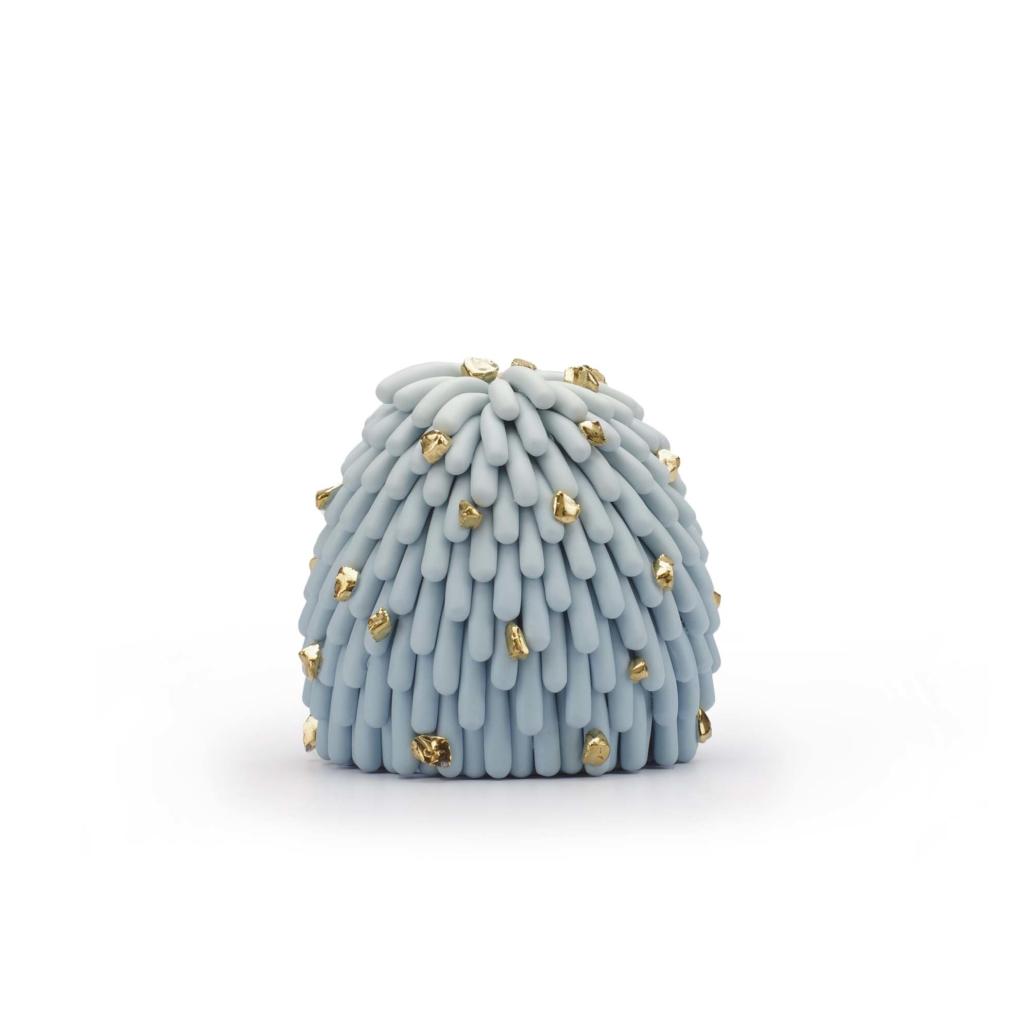 """Linda Lopez, Blue Ombre Fust Furry with Gold Pebbles, 2020, Porcelain, 5"""" h x 5 1⁄4"""" w x 5 1⁄4"""" d"""