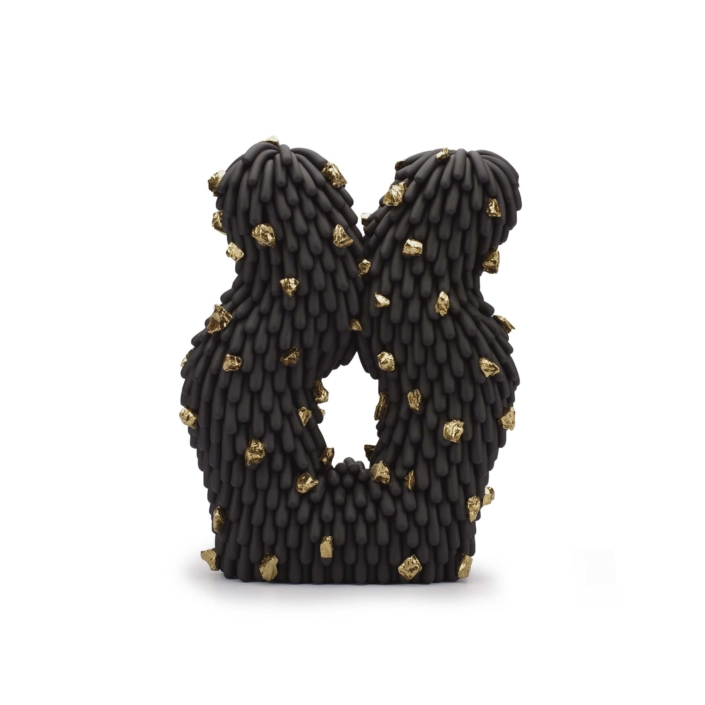 "Linda Lopez, Squiggle Dust Furry with Gold Rocks, 2020, Stoneware, 12"" h x 9"" w x 3 1⁄2"" d"