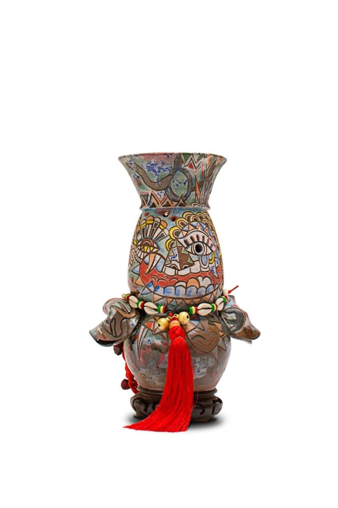 """Jiha Moon, Obba, 2019 Earthenware, underglaze, glaze, bells, shoelace, Hanji beads, found object 10.5"""" x 7.5"""" x 4.5"""""""