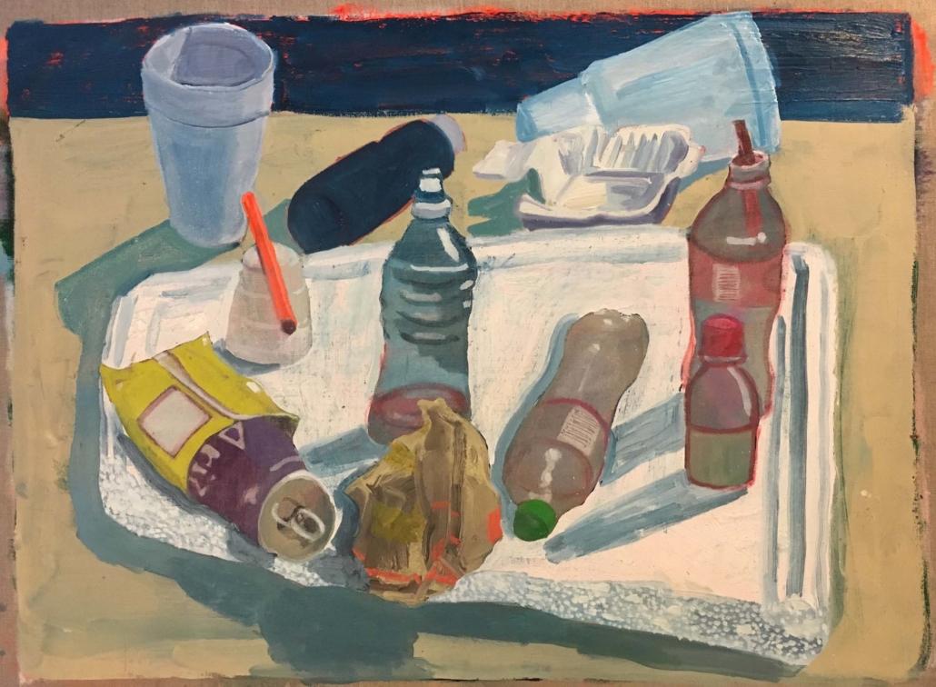 "Ezra Johnson, Objects on Styrofoam Lid, 2018, Oil on linen, 20"" x 27"""