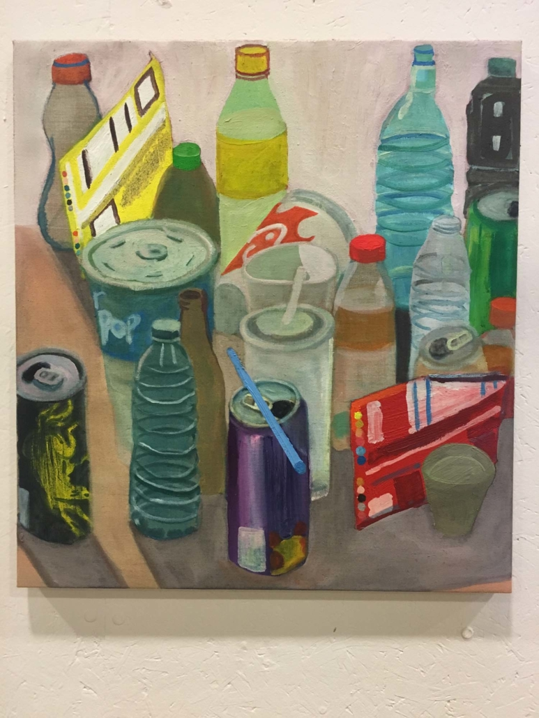 """Ezra Johnson, Objects with a Blue Straw, 2018, Oil on Linen, 23"""" x 21"""""""