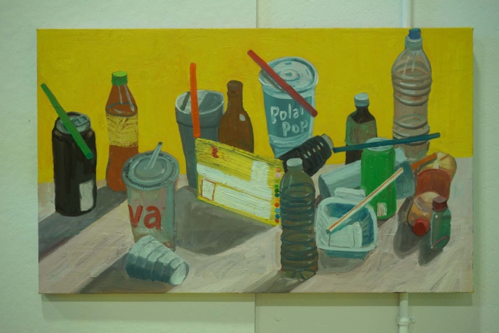 """Ezra Johnson, Seven Straws and Objects, 2018, Oil on canvas, 22"""" x 36"""""""