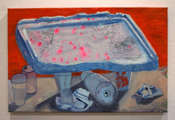 "Ezra Johnson, Styrofoam Lid with Miscellaneous Objects, 2018, Oil on canvas, 19"" x 29"""