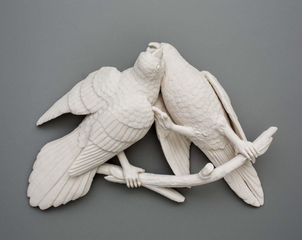 Kate MacDowell. Bird Duo 1, 2016. Porcelain. 12 x 8.5 x 3 in.