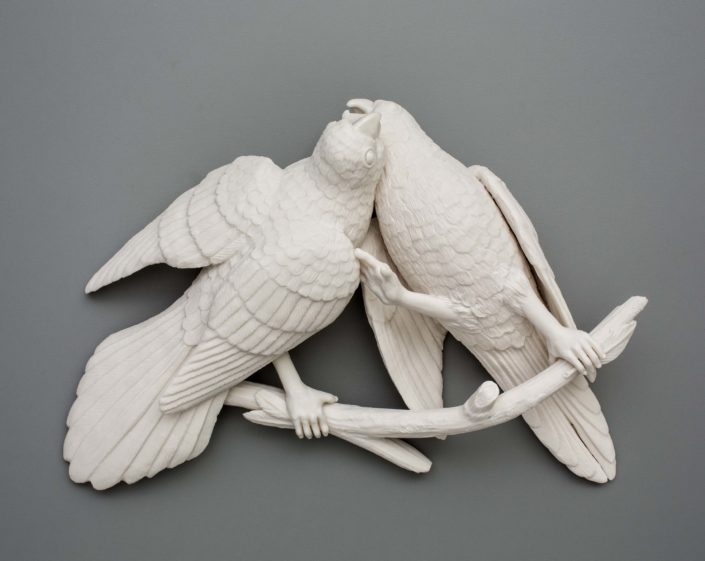 Kate MacDowell. Bird Duo 1, 2016. Porcelain. 12 x 8.5 x 3 in.