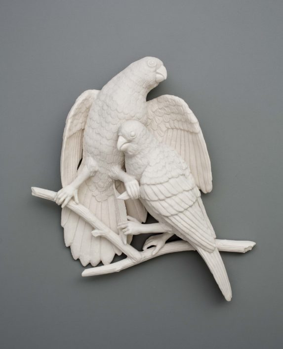 Kate MacDowell. Bird Duo 2, 2016. Porcelain. 11 x 11 x 3.5 in.