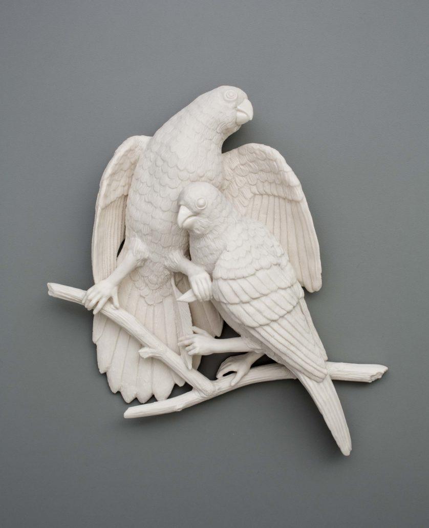 Kate MacDowell. Bird Duo 2, 2016. Porcelain. 11 x 11 x 3.5 in.