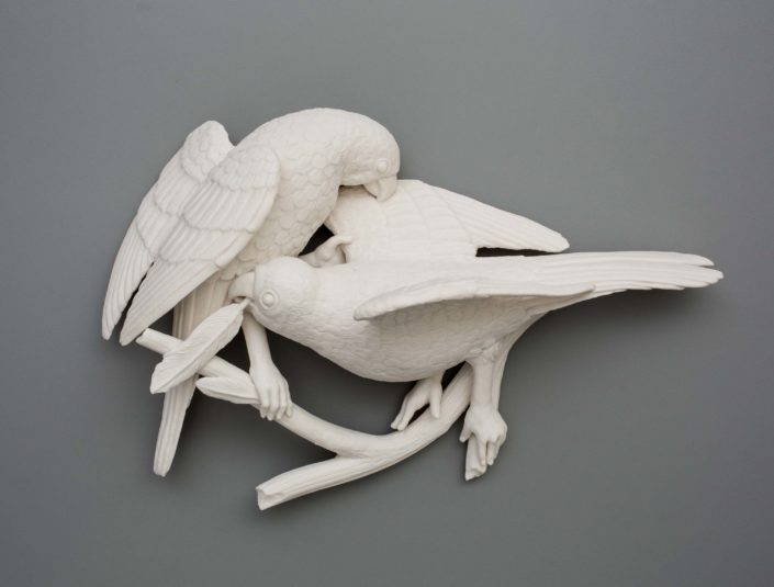 Kate MacDowell. Bird Duo, 3. Porcelain. 13.5 x 8.5 x 5.8 in.