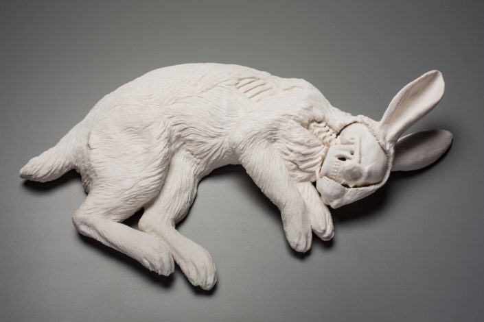 Kate MacDowell. Untitled (Rabbit), 2016. Hand built porcelain, glaze. 22 x 11 x 5 in.