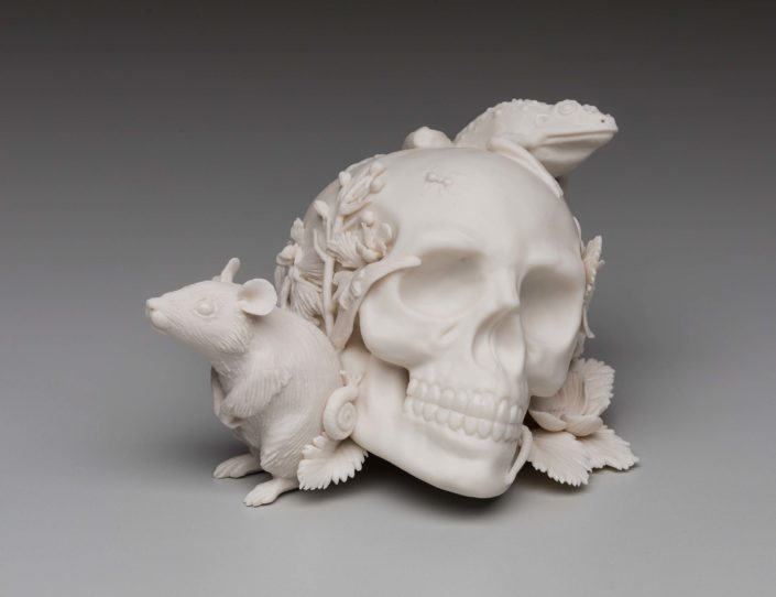 Kate MacDowell. Memento Mori 3, 2017. Hand built porcelain, glaze. 6 x 4.5 x 3.5 in.