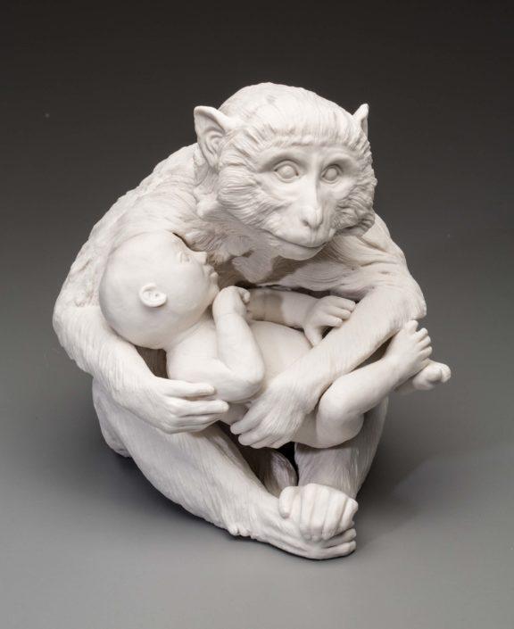Kate MacDowell. Nursemaid 1, 2015. Pedestal piece, hand-built porcelain, glaze, 11 x 8.5 x 11 in.
