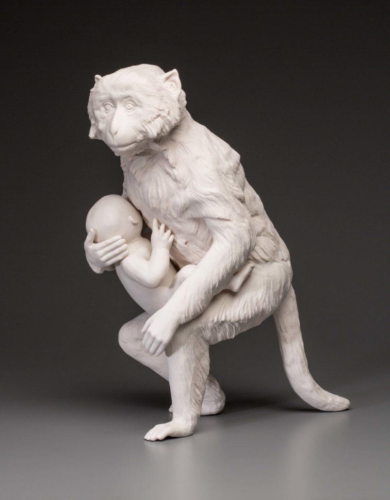 Kate MacDowell. Nursemaid 2, 2015. Hand-built porcelain. 18 x 13.5 x 10 in.