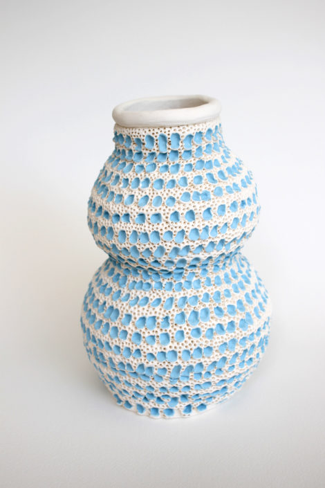 Glenn Barkley. Blue and White Double Gourd Vase, 2018. Earthenware, 7.8 x 5.1 inches.