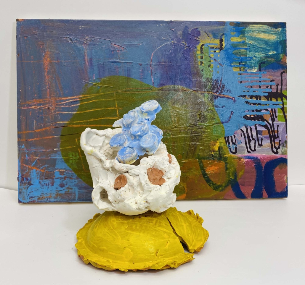 "Francie Bishop Good, Merry Dorney, 2020 Synthetic polymer paints on canvas, bisque-fired earthenware with synthetic polymer paints Painting, 30"" x 20"", Sculpture, 12"" x 11"" x 11"""