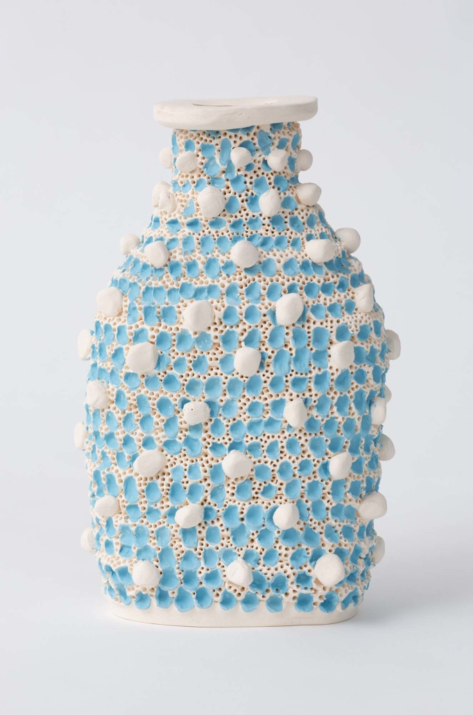 "Glenn Barkley, Blue Bottle, 2019 Ceramic, 9.8"" x 7.5"" x 3.5"""