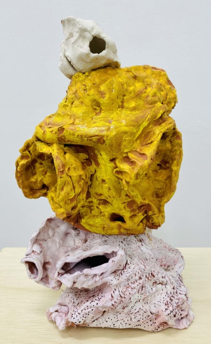 "Francie Bishop Good, Yellow Head, 2020 Clay and resin, 18"" x 10"" x 8"""