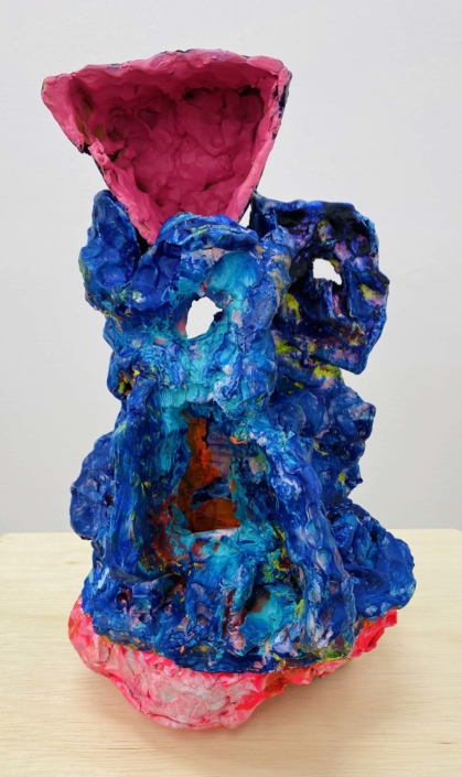 "Francie Bishop Good, Next to Joan, 2019 Synthetic polymer paint on bisque ware ceramic, 17"" x 7 1/2"" x 8 1/2"""