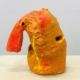 "Francie Bishop Good, Orange Hose, 2020 Synthetic polymer paint on bisque ware ceramic, 10 1/2"" x 10"" x 6 1/2"""