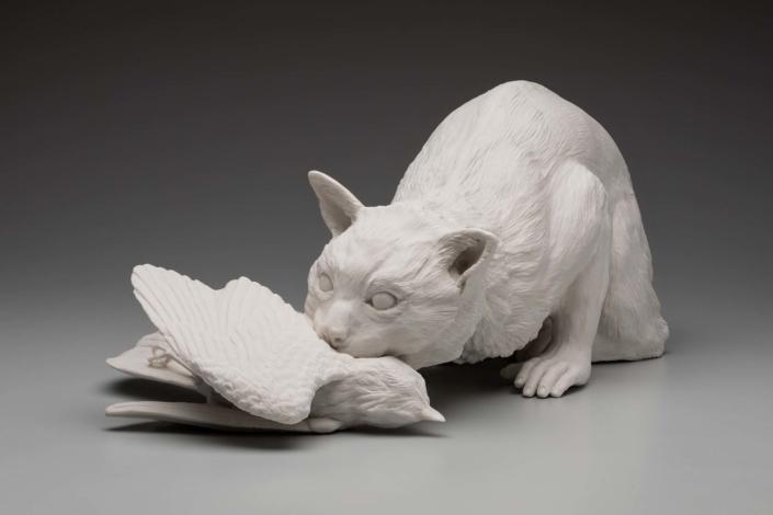 "Kate MacDowell,Feral, 2019 Porcelain 19"" x 11"" x 8"""