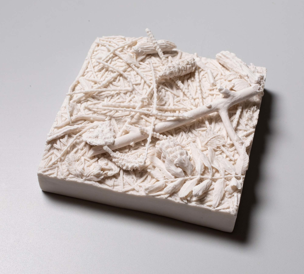 "Kate MacDowell, This patch of ground: pine needles, 2019 Porcelain 5.5"" x 5.5"" x 1.5""-2.5"""