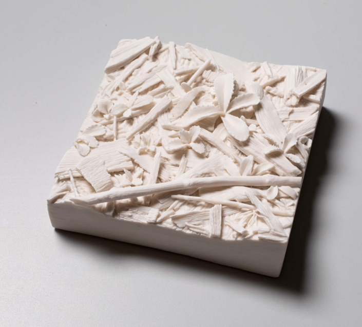 "Kate MacDowell, This patch of ground; Woodchips, 2019 Porcelain 5.5"" x 5.5"" x 1.5""-2.5"""