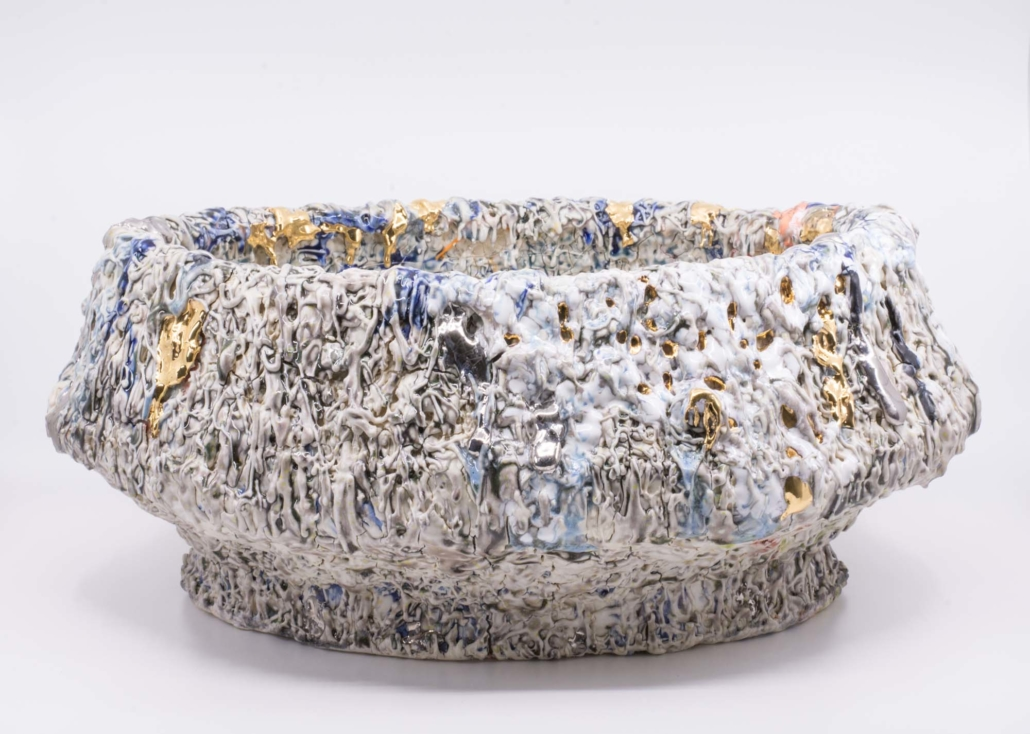 "Andrew Casto, Accumulation Vessel 60, 2020, Porcelain and 18k Gold Lusters, 18"" x 13"" x 7.5"""