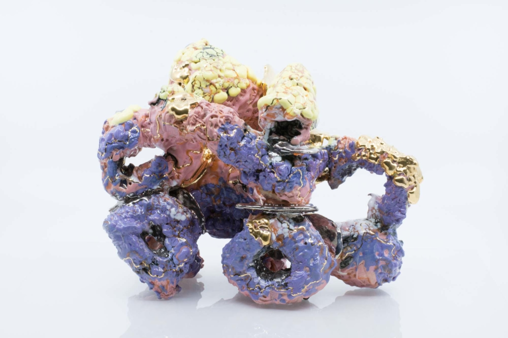 """Andrew Casto Assemblage 199, 2020 Porcelain and 18k Gold Lusters 10"""" x 6"""" x 9"""""""