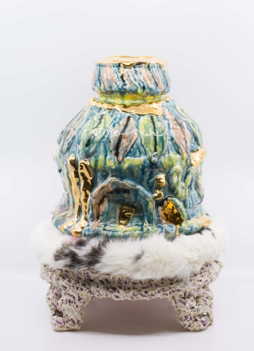 "Andrew Casto Reliquary 10, 2020 Porcelain, Rubber, Rabbit Fur, 18k Gold Lusters 14"" x 14"" x 18"""