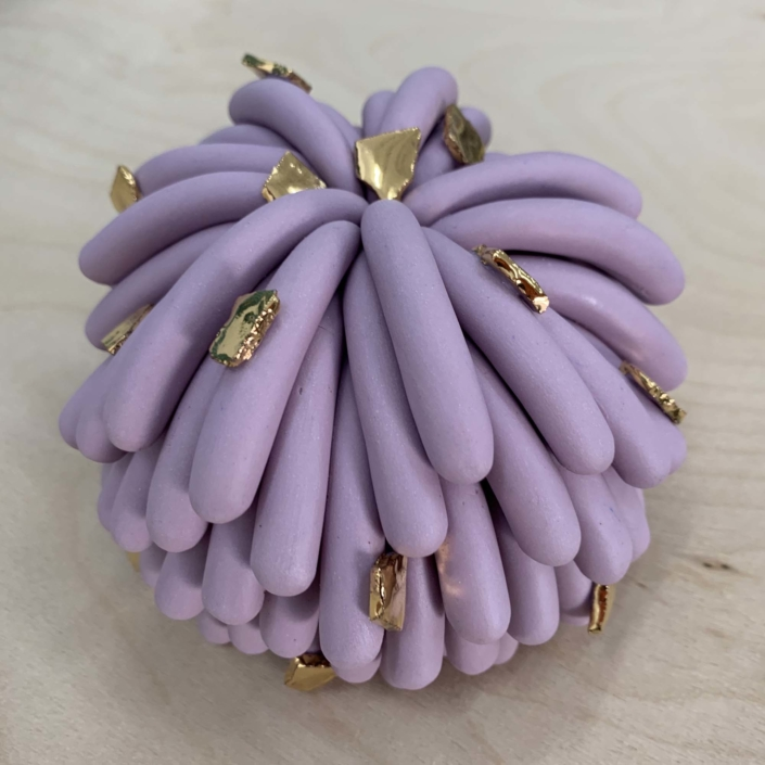 "Linda Lopez Purple Furry with Rocks, 2020 Porcelain 4 1/2"" x 5"" x 5"""
