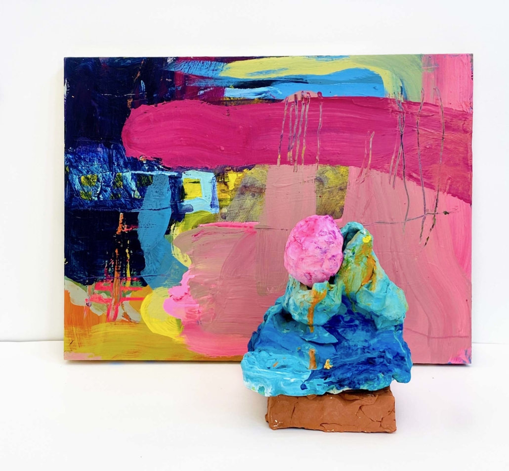 Francie Bishop Good, Larkspur, pairing 2020 ainting, 18x24 synthetic Polymer paint on Board Sculpture, 10x9x9 synthetic Polymer paints on Bisque Fired Earthenware