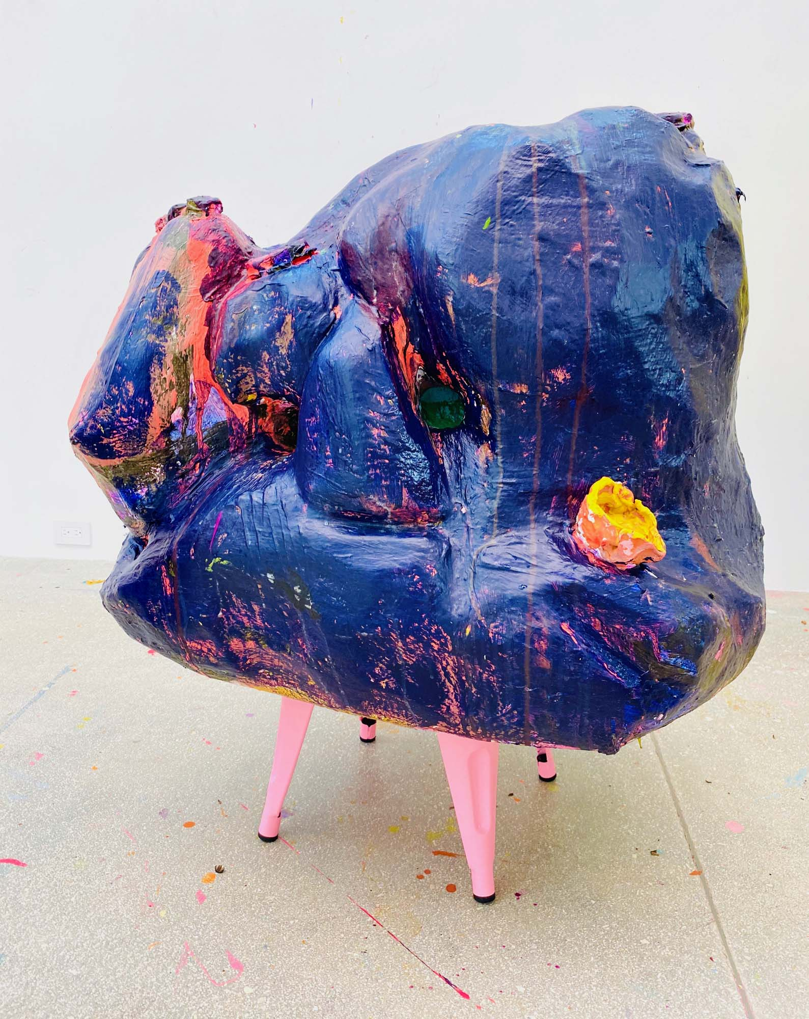 Francie Bishop Good, Purple Giant Pinch Pot, 2020 Resin, foam, cement, synthetic polymer paints, bisque-fired earthenware, metal stool, 38 x 36 x 36 in.