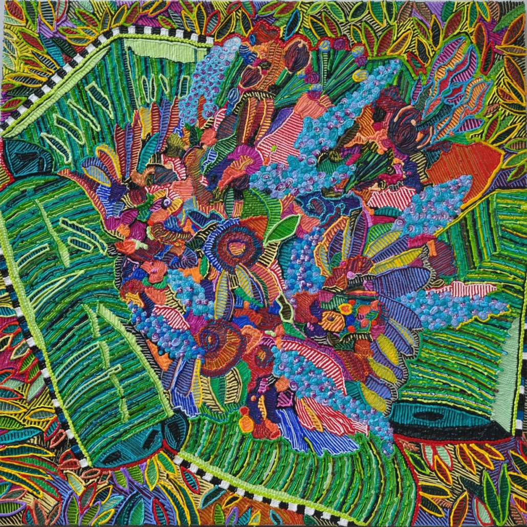 "Caroline Larsen, Banana Leaf Bouquet, 2018, Oil on canvas, 43"" x 43"""