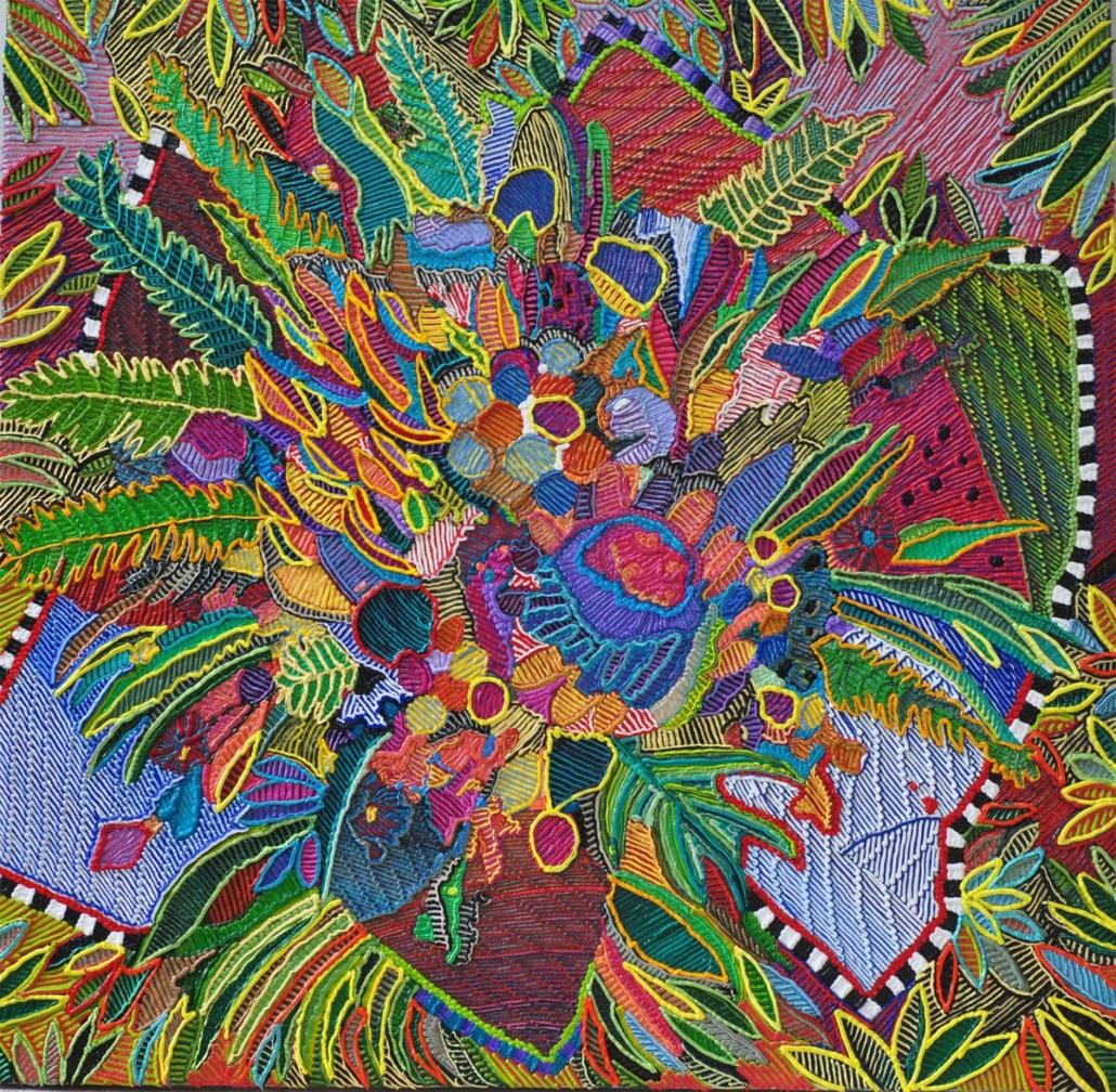 "Caroline Larsen, Petal Power, 2018, Oil on canvas, 40"" x 40"""