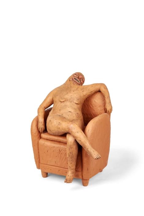 """Natalia Arbelaez, Desnudo (naked on chair), 2019, Terra Cotta, 16""""x16""""x16"""""""