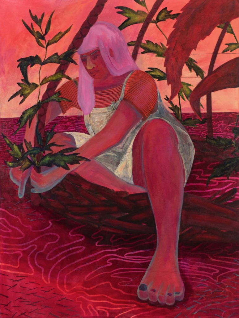 "Genevieve Cohn, A Tender Tether, 2020, Acrylic on canvas, 48"" x 36"""