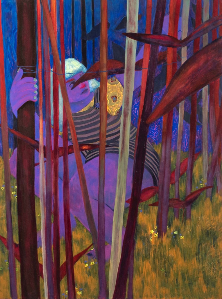 "Genevieve Cohn, Around the Maypole, 2020.Acrylic on canvas, 40"" x 30"""