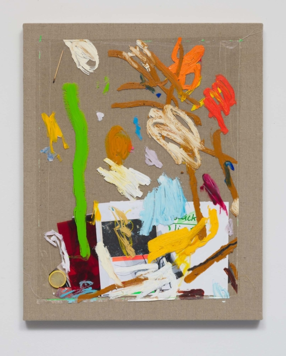 Marc Horowitz, Capacity tension, 2020 oil, oil stick, transparency, wet media Dura-Lar, film gel, tape, chromogenic color print, matches, adderall, plastic lemon wedge, collage on paper, on linen, 35 x 28 x 1.5 in.