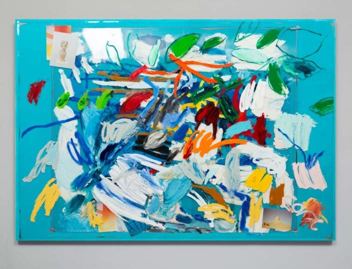 Marc Horowitz, Potenz, 2020, oil, oil stick, wet media Dura-Lar, tape, chromogenic color print, pigment dispersion with liquid vinyl binder, emulsified gesso on canvas, 45 x 65 x 1.5 in.