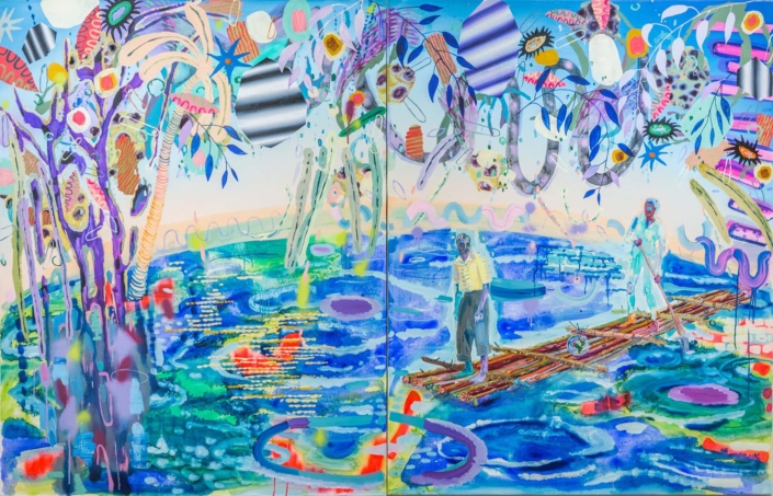 "Melanie Daniel, Mission, 2018, Oil on canvas, 54"" x 84"", (54"" x42"" each)"