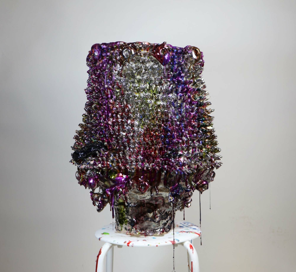 Virginia Leonard, Holes, Legs and Holes, 2020, Clay, lustre and resin, 21.5 x 17 in.