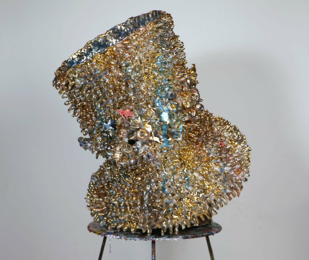 Virginia Leonard, Dressing Up For Ward Rounds, 2020, Clay, Lustre and Resin, 31.5 x 28.3 in.