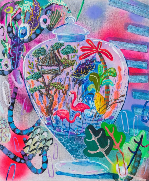 "Melanie Daniel, Millenial Menagerie, 2018, Oil on canvas, 24"" x 20"""