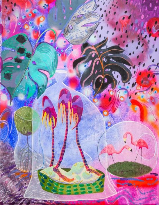 "Melanie Daniel, Tropical Delight, 2018, Oil on canvas, 44"" x 34"""