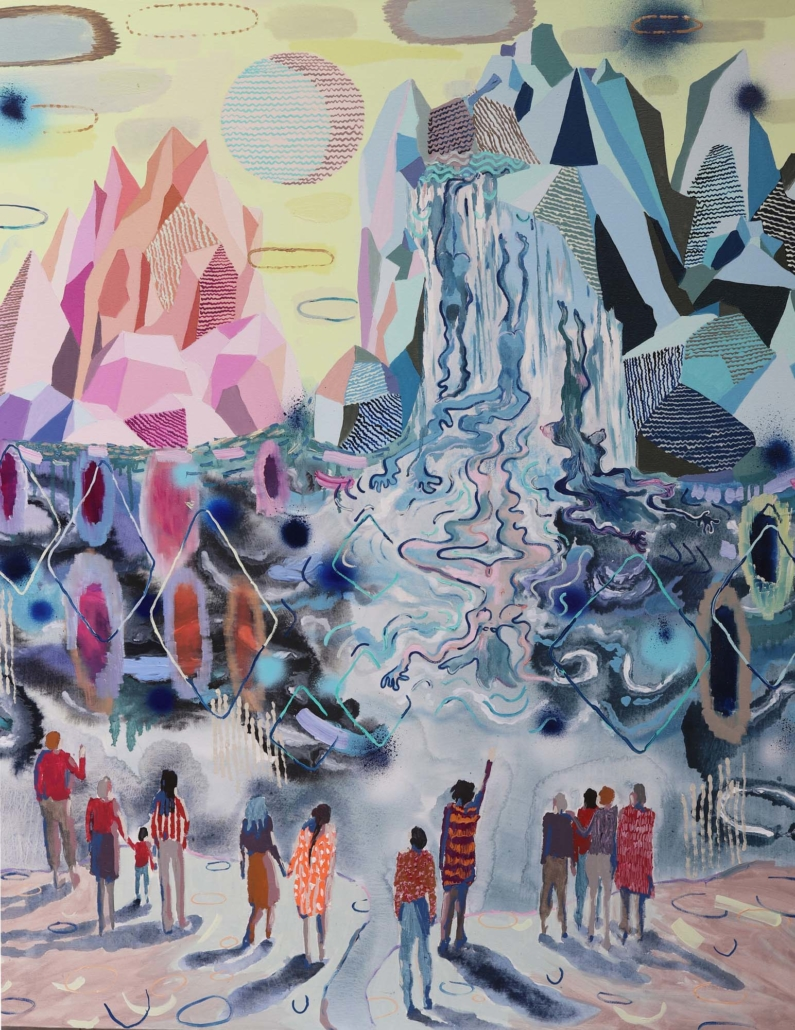 "Melanie Daniel, Waterfall, 2019, Oil on canvas, 54"" x 42"""