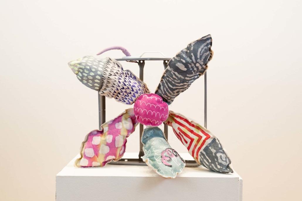 Melanie Daniel, Fandaisy, 2019, Canvas, wax, dye, acrylic, wood, aluminum, 3' x 3'