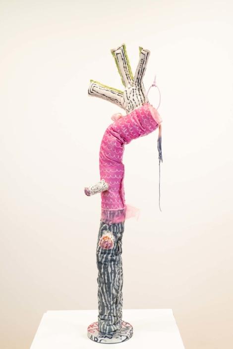 Melanie Daniel, Lampweed, 2019, Canvas, wax, dye, acrylic, wood, PVC, steel, 5' x 2'