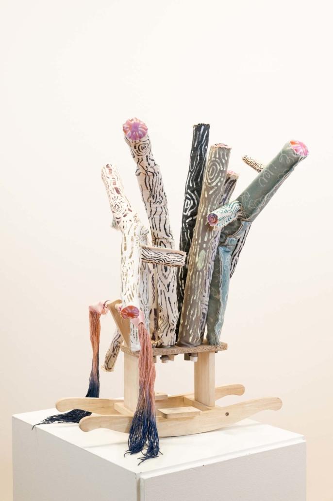 Melanie Daniel, Pinepony, 2019, Canvas, wax, dye, acrylic, wood, PVC, wood, 4' x 3'